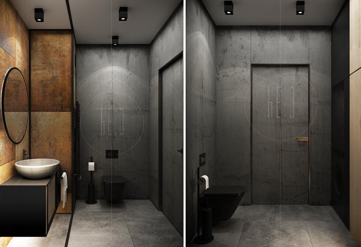 дизайн интерьера санузла в стиле лофт