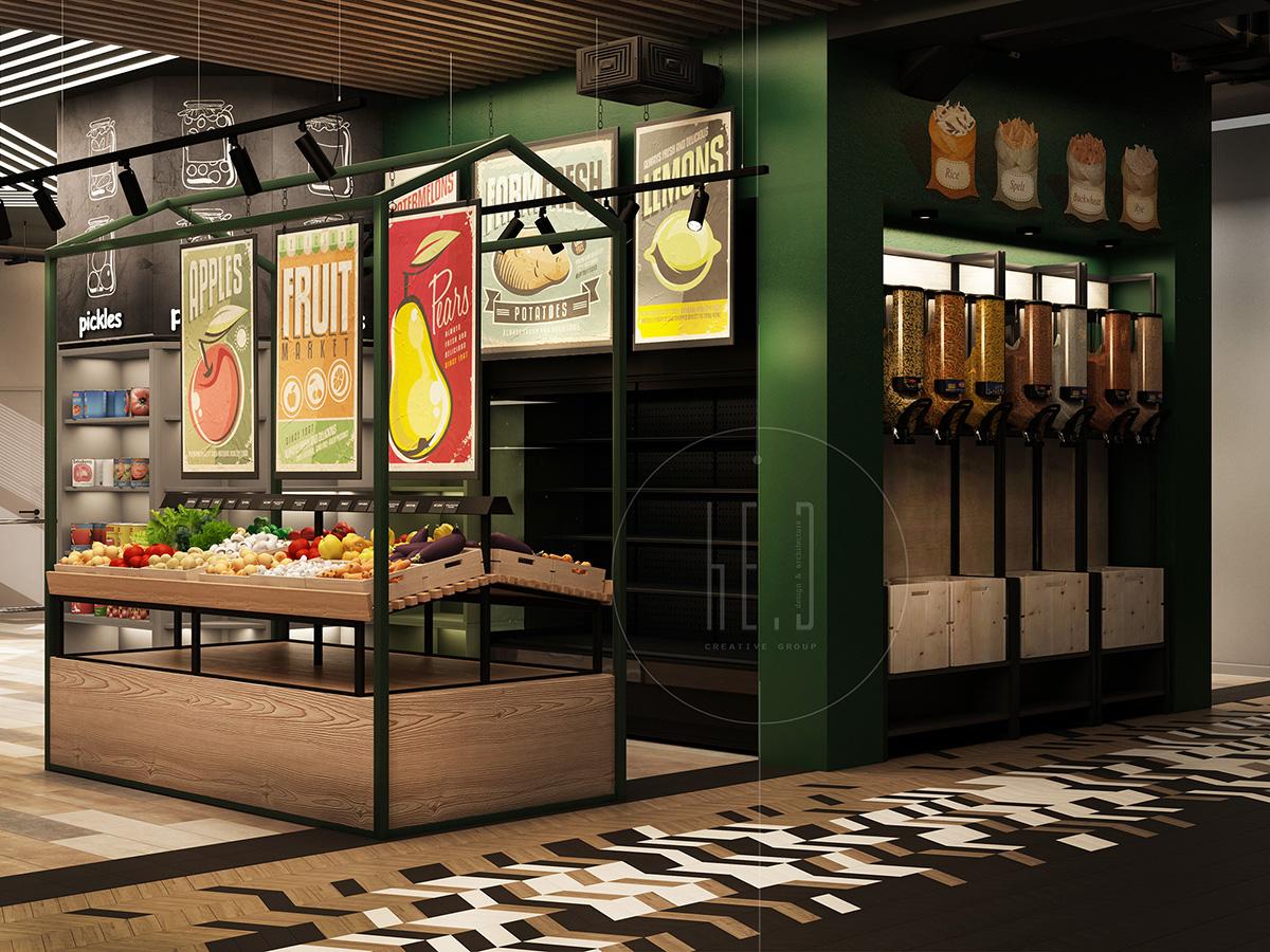 дизайн интерьера супермаркета foodboard