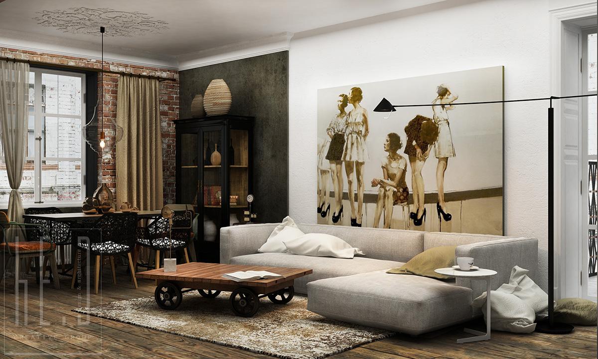 дизайн интерьера гостиной с большой картиной