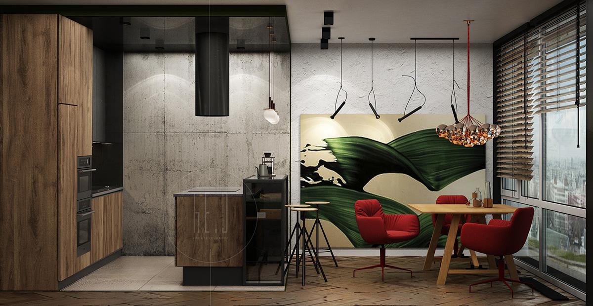 дизайн интерьера кухни и столовой
