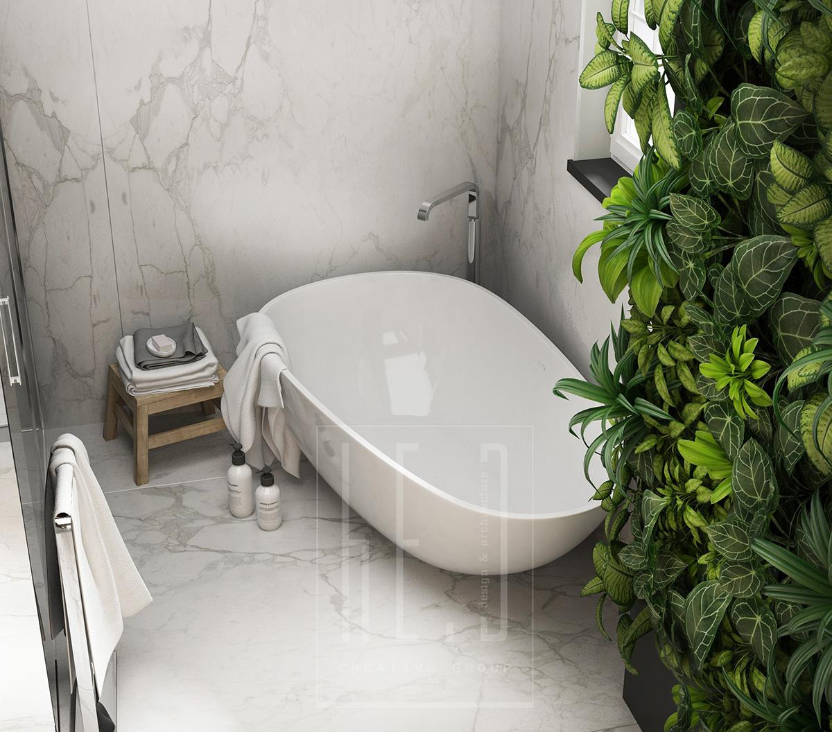 дизайн интерьера санузла с отдельностоящей ванной