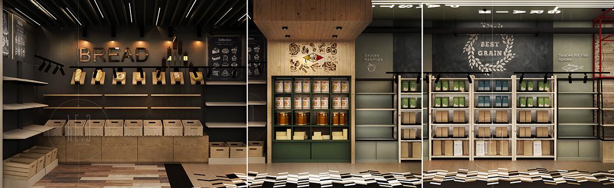 дизайн интерьера продуктового магазина